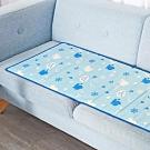 奶油獅 雪花樂園-長效型降6度涼感冰砂冰涼墊/三人坐墊/沙發墊50x150cm藍色(二入)