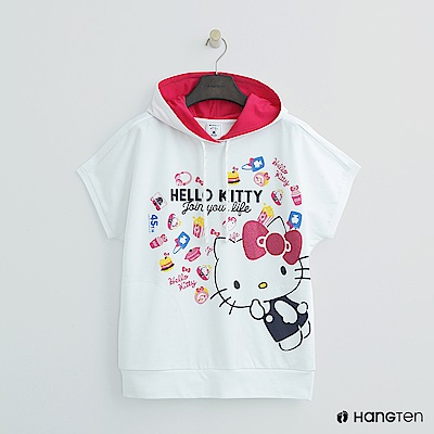 Hang Ten - 女裝 -Hello Kitty系列-可愛圖樣短袖帽T-白