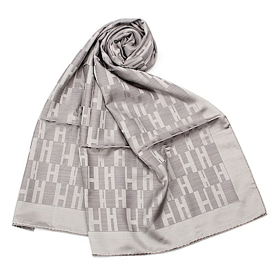 HERMES 經典H logo羊絨混絲圍巾(銀灰色)