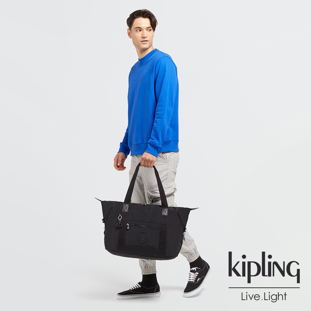 Kipling 曜岩黑品牌經典圓標手提側背包-ART M