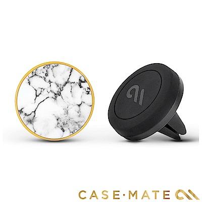 美國 Case-Mate 強力磁吸式手機車架組 - 白色大理石造型貼片