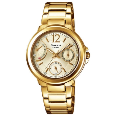 CASIO SHEEN系列 優雅羅馬晶鑽三眼鑽錶-金-SHE-3804GD-9AUDR-32mm
