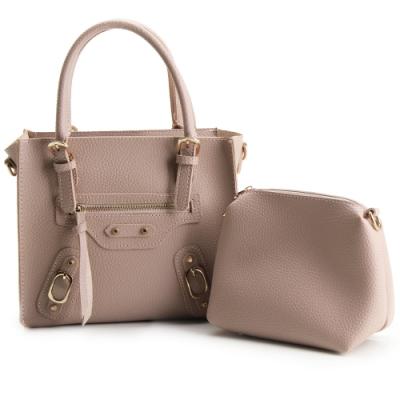 法國盒子 個性話題立體子母三用包-粉紅色