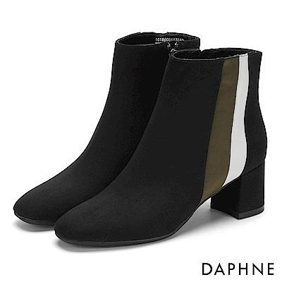 達芙妮DAPHNE 短靴-異材質撞色拼接方頭粗跟短靴-黑