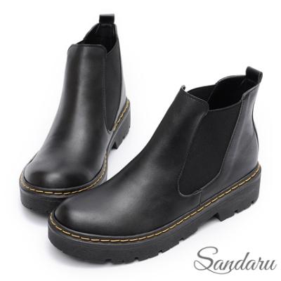 山打努SANDARU-馬汀靴 圓頭切爾西厚底短靴-黑