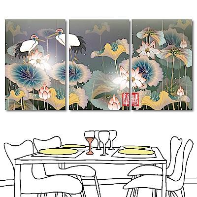 橙品油畫布 三聯式直幅 花卉無框畫-荷花40x60cm