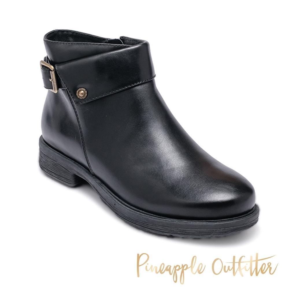 Pineapple Outfitter-BEATA 率性仿舊拼接皮帶扣短靴-黑色