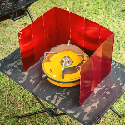 索樂生活 10片式鋁合金摺疊瓦斯爐隔熱擋風板.擋風片 阻風片 防風片 防風板附收納硬盒