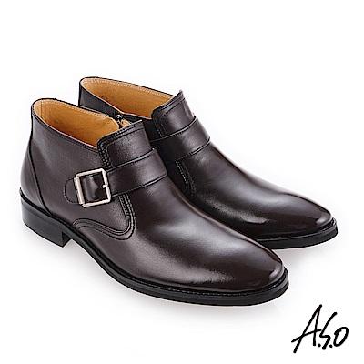 A.S.O 零壓挺力 精緻壓紋牛皮紳士鞋 咖啡