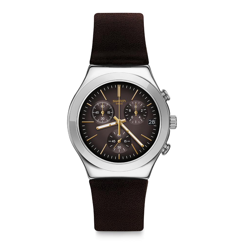 Swatch BROWNFLECT 沉穩深棕手錶