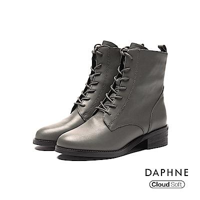 達芙妮DAPHNE 短靴-柔軟牛皮綁帶低跟短靴-橄欖綠