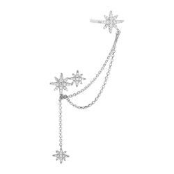 apm MONACO法國精品珠寶 閃耀鑲鋯銀色繁星耳骨夾耳針式耳環