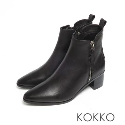 KOKKO質感柔軟小羊皮拉鍊雙擦色粗跟短靴霧黑色