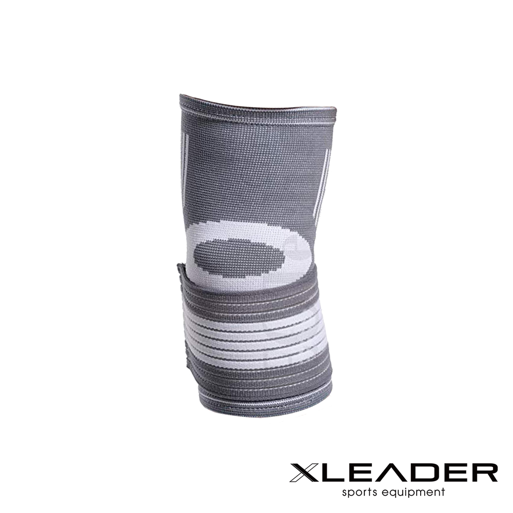Leader X 運動防護 繃帶加壓可調護肘 灰白 單只入 - 急