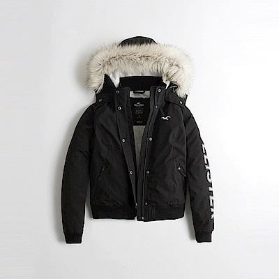 海鷗 Hollister 年度熱銷毛毛保暖連帽風衣外套(女)-黑色