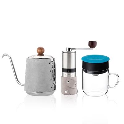 【PO:Selected】丹麥手沖咖啡三件組(咖啡壺-灰/玻璃杯240ml-藍/咖啡磨2.0)