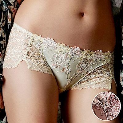 莎露- 花漾鞋 M-LL 中低腰平口褲(玫瑰)奢華刺繡蕾絲-透氣包臀