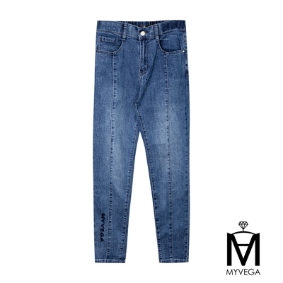 MYVEGA麥雪爾 MA高含棉中車線牛仔褲-深藍
