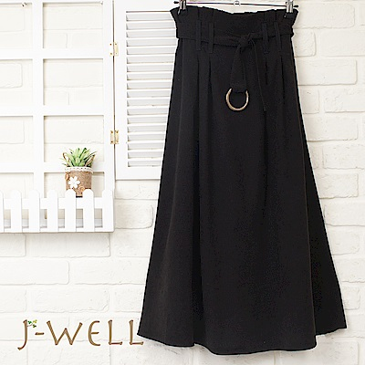 J-WELL 金屬環綁帶花苞高腰長裙 (2色)