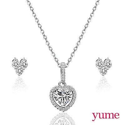 YUME 愛心滿鑽套組(項鍊+耳環)