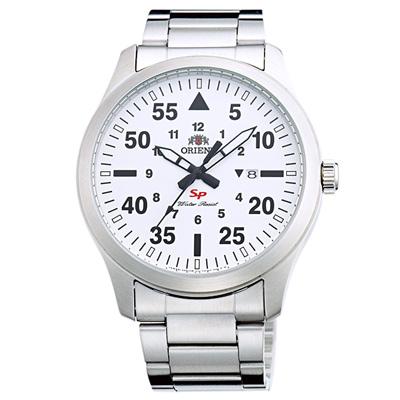 ORIENT東方經典時尚日期手錶FUNG2002W-白X銀/43mm