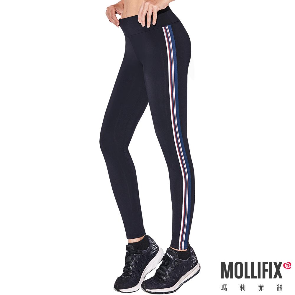 Mollifix 瑪莉菲絲 活力拼接條紋動塑褲 (黑)