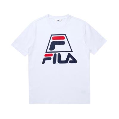 FILA 圓領上衣-白 1TEU-1502-WT