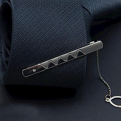 拉福   造型6CM高檔領帶夾領夾滿曲(附盒)