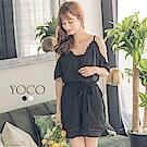 東京著衣-yoco波希米亞刺繡蕾絲荷葉邊綁帶連身褲裝-S.M.L(共二色)