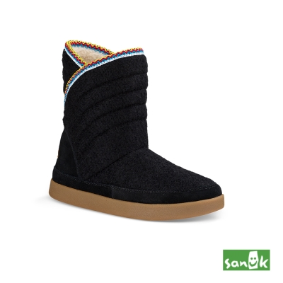 SANUK 羊毛刺繡中筒靴-女款(黑色)