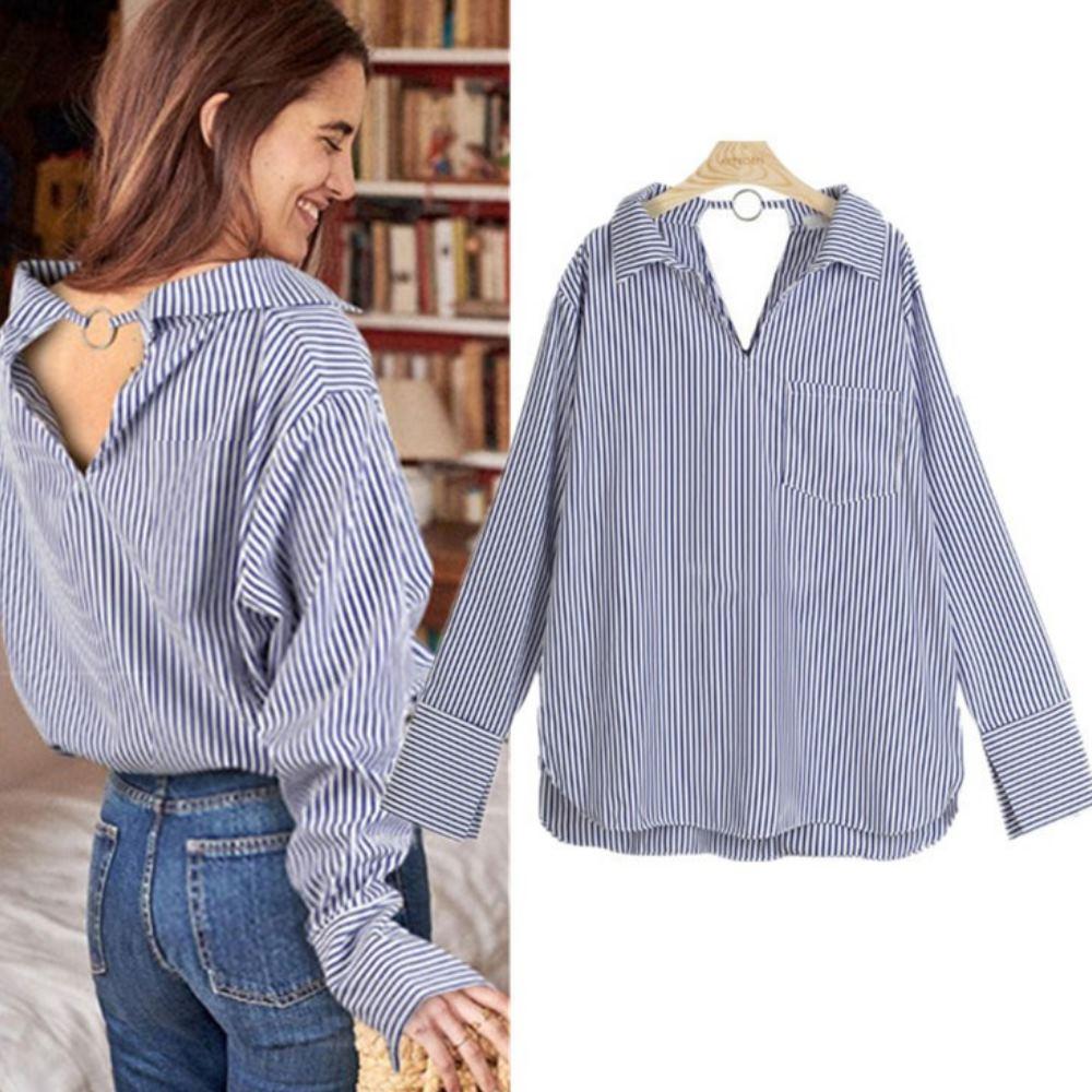 MOCO袋雙V領單口袋背釦環條紋長版襯衫L~XL