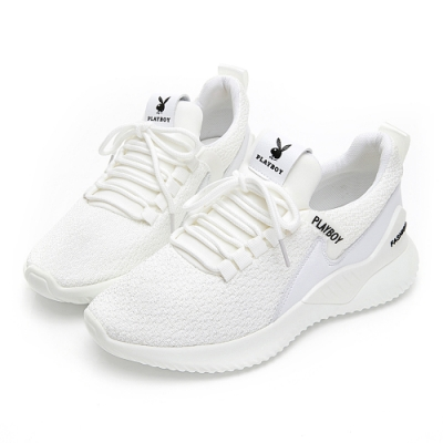 PLAYBOY 簡約飛織襪套式休閒鞋-白-Y582111