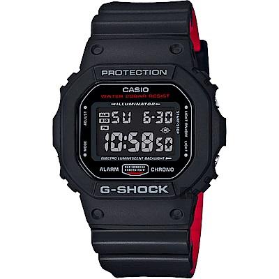 CASIO卡西歐G-SHOCK經典人氣電子錶-紅黑DW-5600HR-1