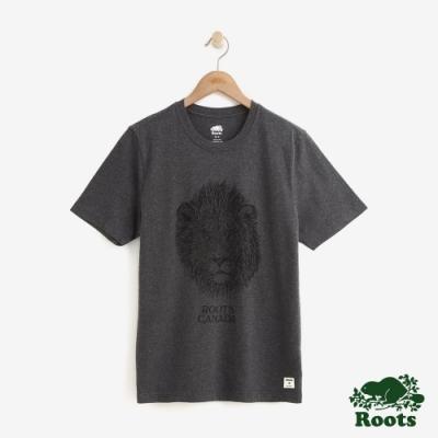 男裝Roots 經典動物系列短袖T恤-灰色