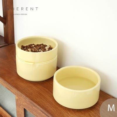 韓國Inherent Pudding 可堆疊寵物碗 寵物碗 狗碗 M 檸檬黃
