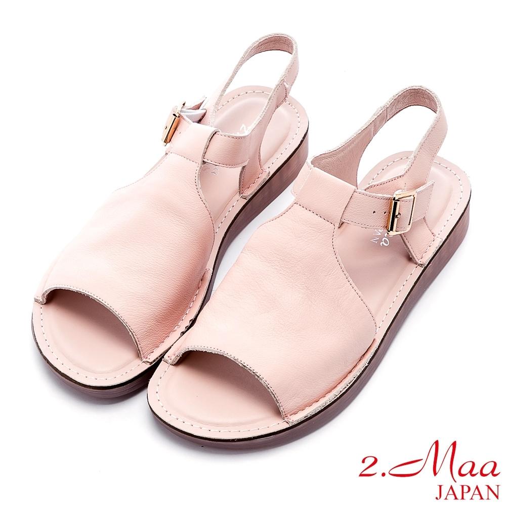 2.Maa 極簡設計牛皮扣帶魚口涼鞋 - 粉