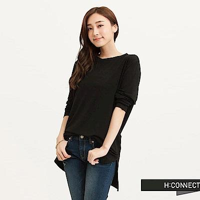 H:CONNECT 韓國品牌 女裝-圓領純色柔順長袖T-Shirt-黑(快)