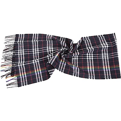 BURBERRY 彩虹格紋深藍色喀什米爾羊毛圍巾