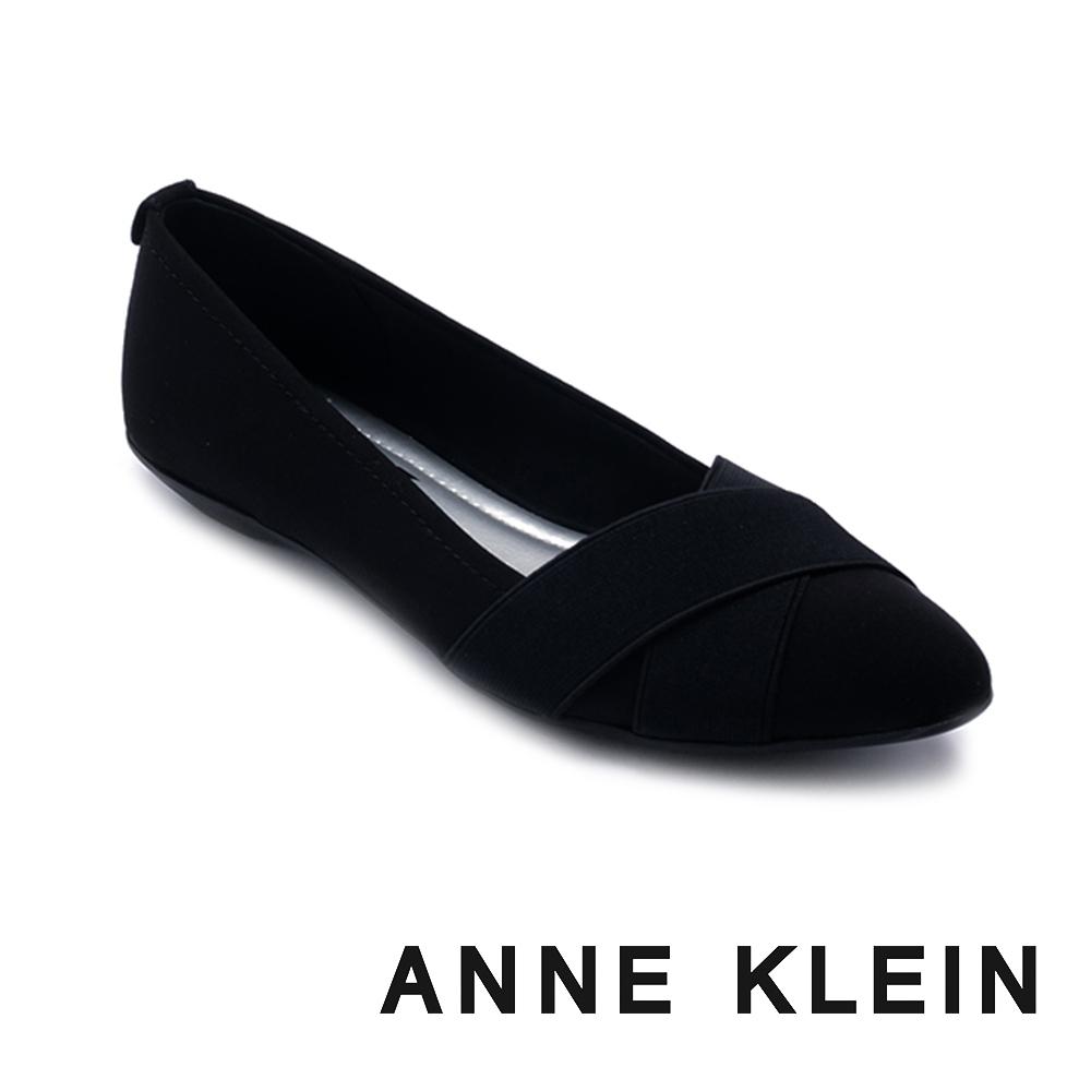 ANNE KLEIN-OALISE2 粉領推薦 交叉織帶拼接尖頭娃娃鞋-黑色