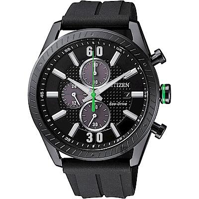 CITIZEN 星辰 光動能渦輪時尚計時手錶-黑/ 43mm(CA0667-12E)