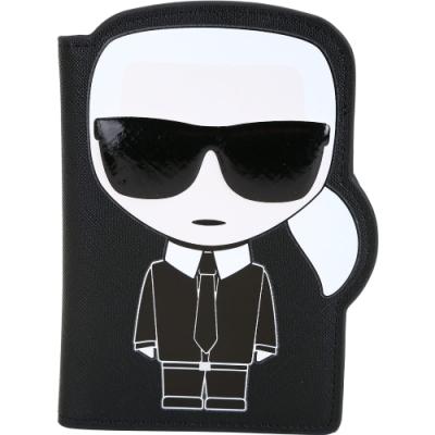 過年不打烊KARL LAGERFELD K/IKONIK老佛爺肖像造型防刮皮護照夾(黑色)
