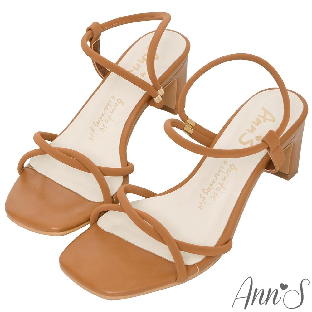Ann'S微成熟-立體圓條方頭扁跟拉帶涼鞋-棕