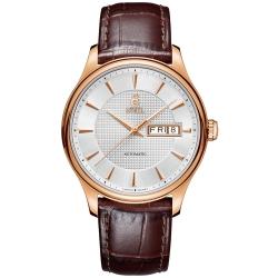 ERNEST BOREL 瑞士依波路錶 復古系列8280皮帶-銀色 39.5mm