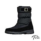 【T2R】環扣設計內增高溫暖內鋪毛中筒靴-黑-增高6cm
