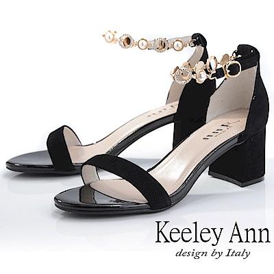 Keeley Ann簡約一字帶 氣質水鑽中跟真皮涼鞋(黑色-Ann系列)