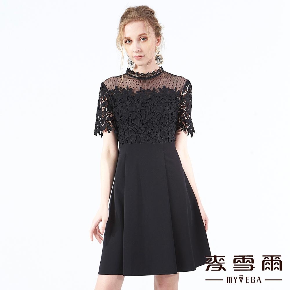 【麥雪爾】古典氣息蕾絲拼接短洋裝