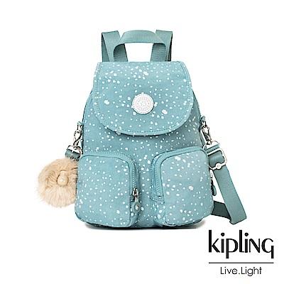 Kipling 潑墨感銀空藍掀蓋後背包-FIREFLY UP