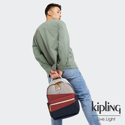 Kipling 帥氣藍撞復古紅抽繩拉鍊後背包-DAMIEN