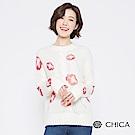 CHICA 飄逸紅花麻花織紋毛海針織衫(2色)