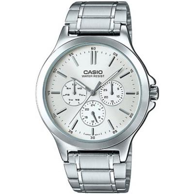 CASIO 三針三眼復刻不鏽鋼腕錶(MTP-V300D-1A)-白/41mm